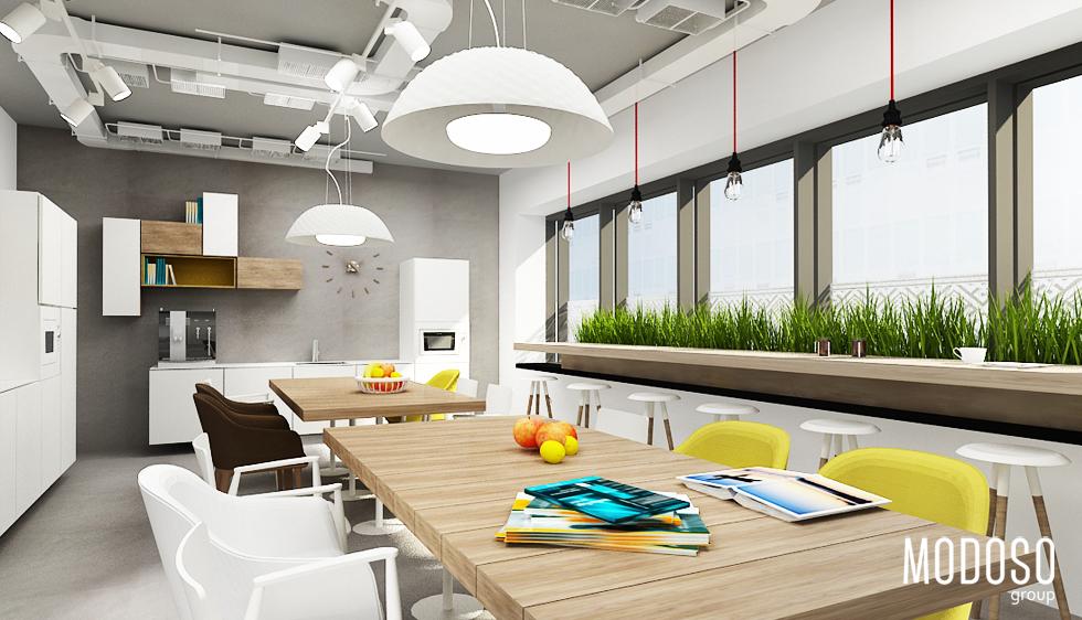 Sanofi Aventis – projekt biura w Warszawie – strefa kuchni pracowniczych